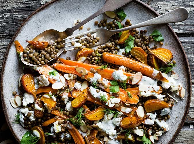 roasted beet carrot lentil salad feta yogurt dill