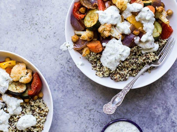 roasted vegetable grain bowls