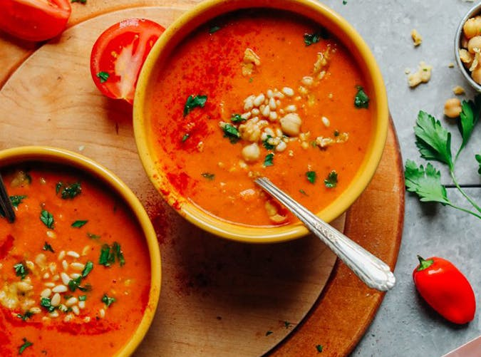 romesco soup with smashed chickpeas recipe for souping