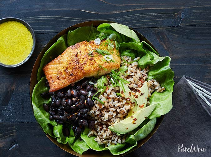 salmon bowl farro black beans tahini dressing