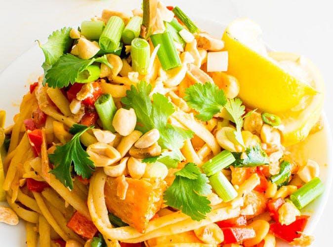 seared salmon pasta coconut milk chili sauce