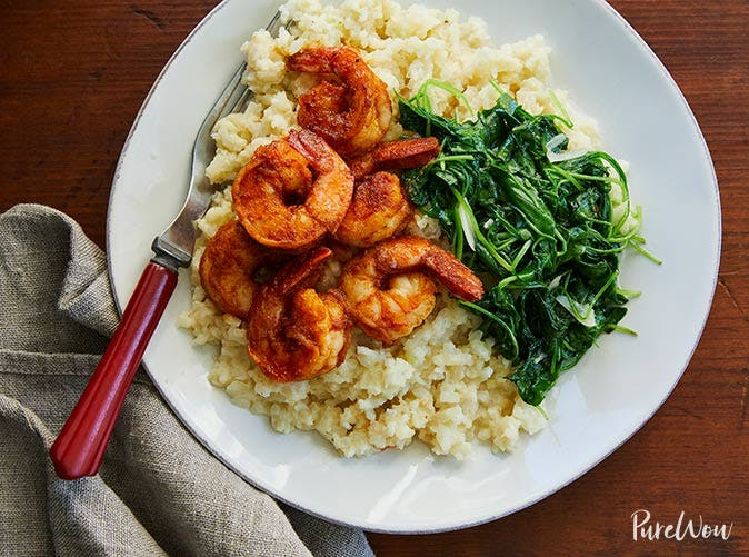 shrimp cauliflower grits arugula