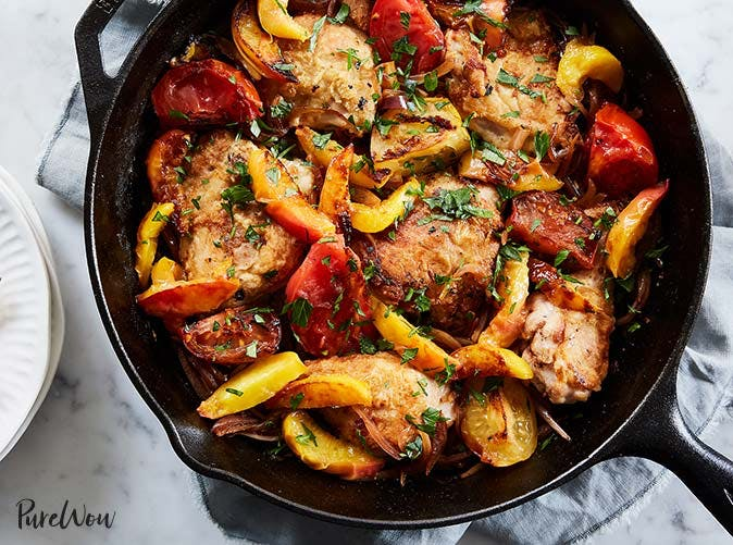 skillet roast chicken peaches tomatoes