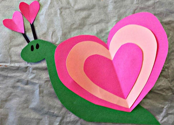 snail heart valentines craft for kids