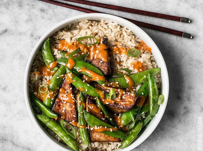 soy marinated tofu bowls spicy peanut sauce