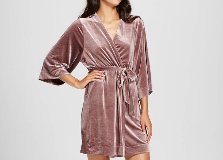 target mauve velvet bathrobe
