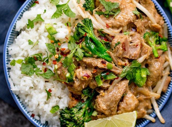 thai style peanut pork broccoli