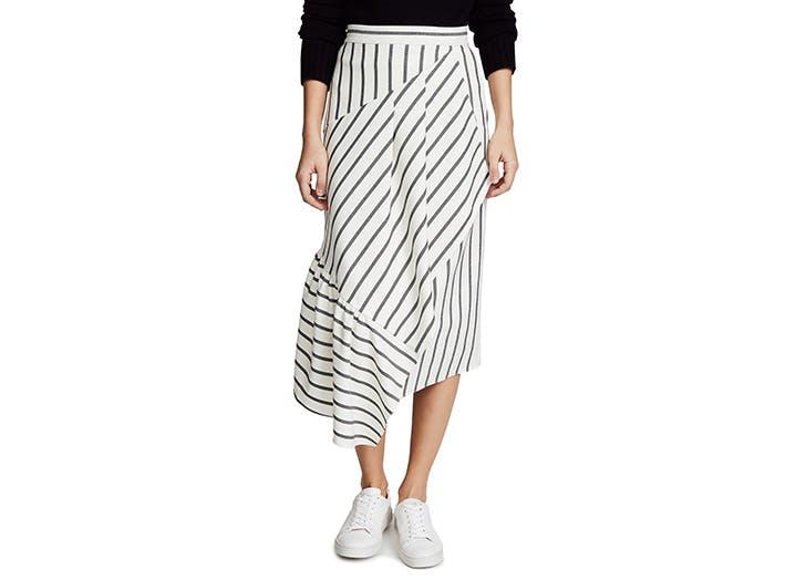 tibi asymeterical midi skirt