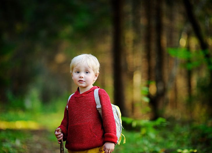 toddler walking during the hiking activities in forest