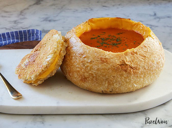 tomato soup grilled cheese bread bowls