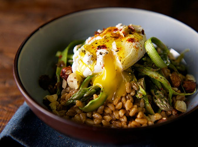 warm farro asparagus poached egg