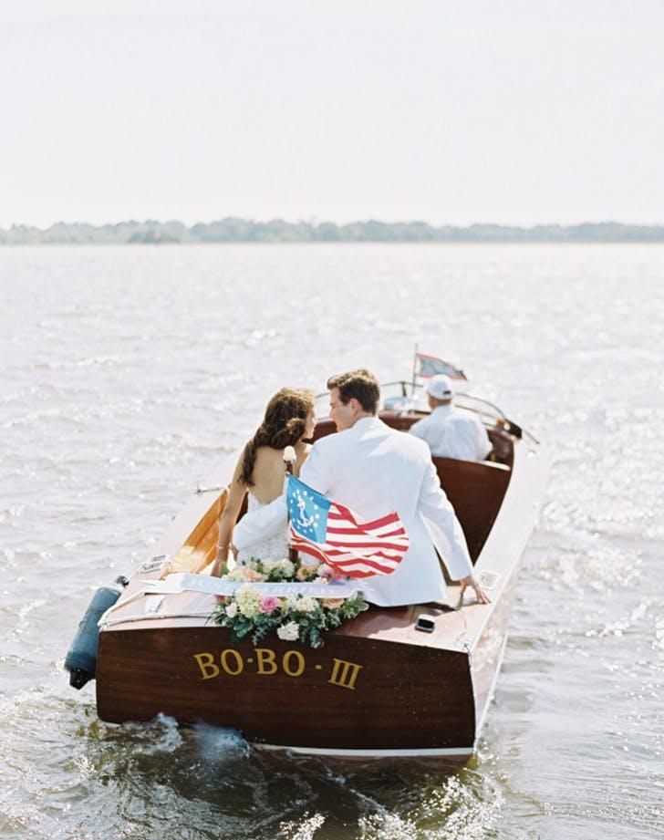 wedding send off boat