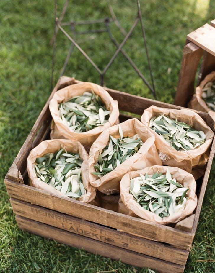 wedding send off eucalyptus leaves