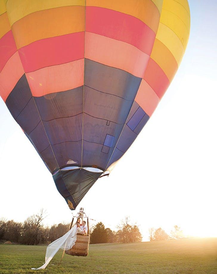 wedding send off hot air balloon