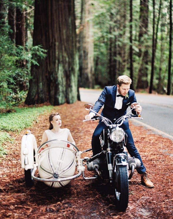 wedding send off motorcycle sidecar