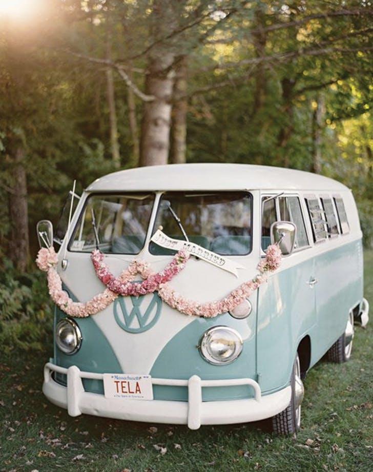 wedding send off retro van