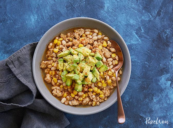 white turkey chili avocado
