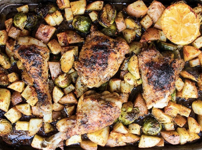 whole30 one pan chicken with brussels sprouts potatoes recipe