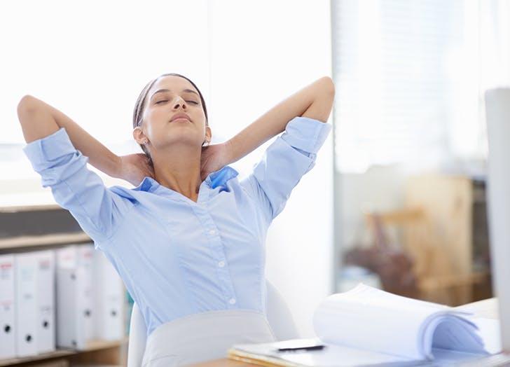 woman deep breath
