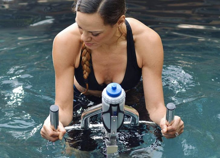 woman riding aquatic bike