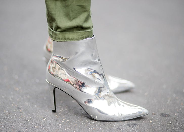 zodiac shoes metallic booties aquarius