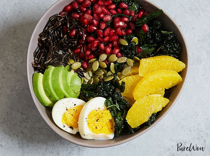 Buddha Bowl with Kale  Avocado  Orange and Wild Rice