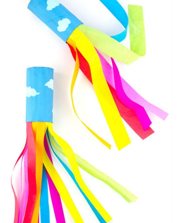 Cardboard Tube Rainbow Blowers Craft for Kids