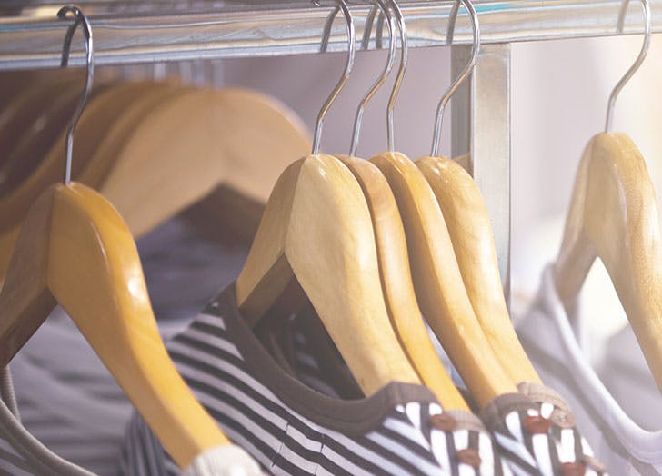 Cedar clothes hangers in closet to ward off moths