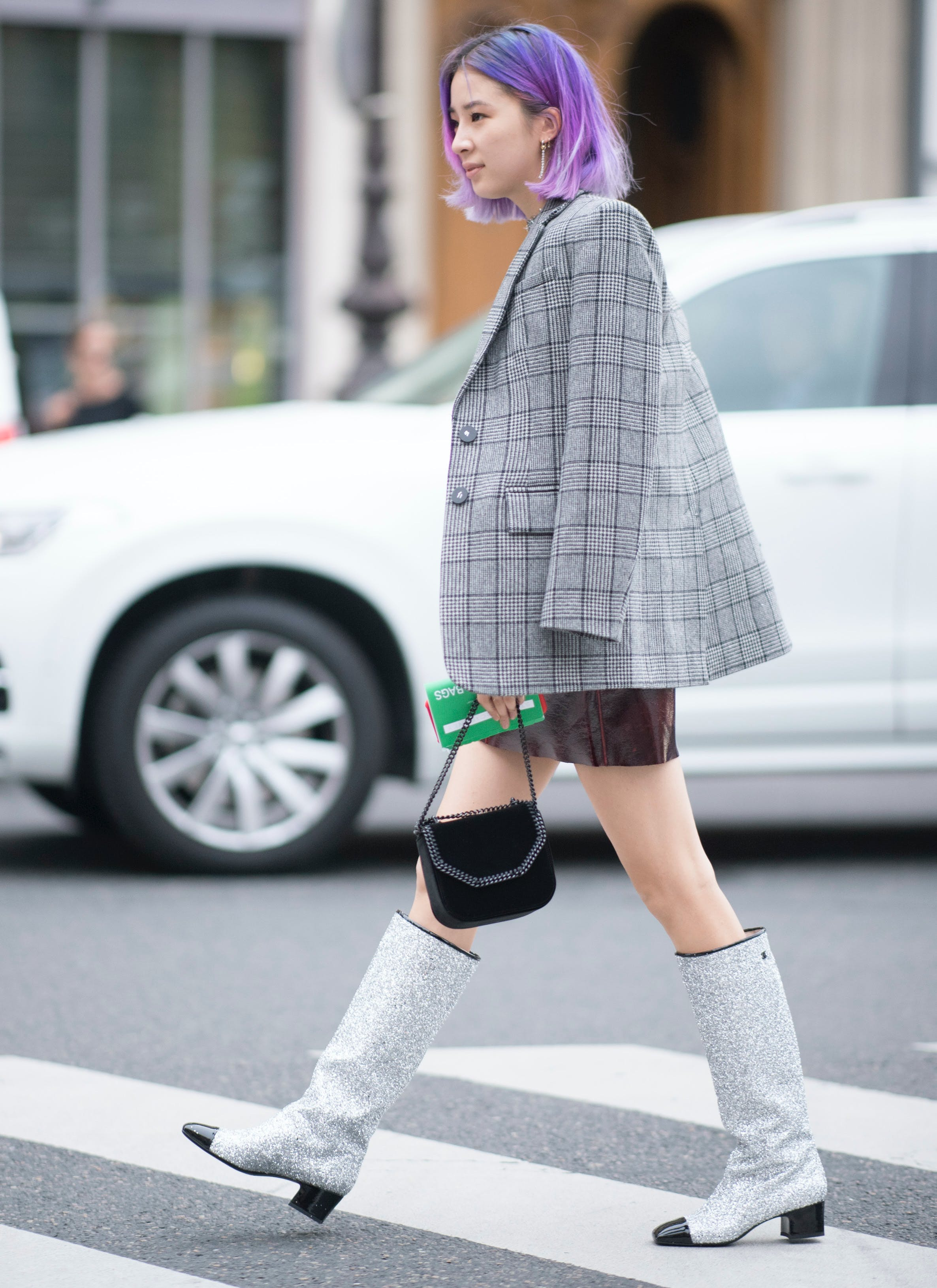 Chanel glitter boots out in the wild