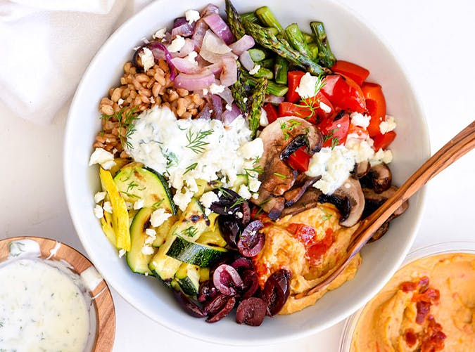 Chopped Grilled Vegetable Bowl with Farro recipe