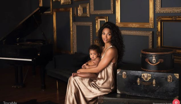 Ciara holding daughter Sienna Princess TraceMe App