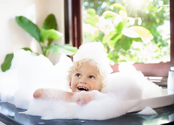 Cute kid in bubble bath