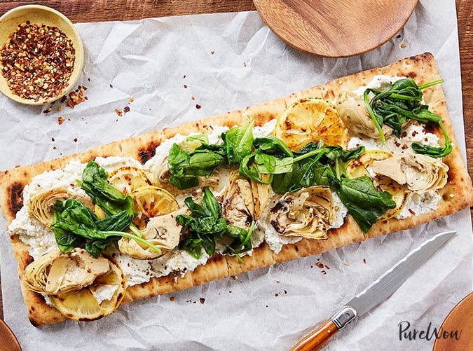 Grilled Flatbread Pizza with Artichoke  Ricotta and Lemon recipes for two people