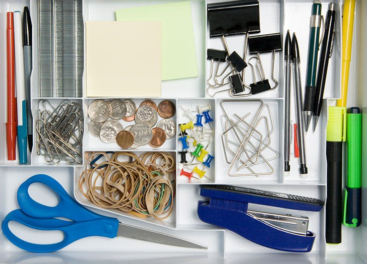 Junk drawer with office supplies