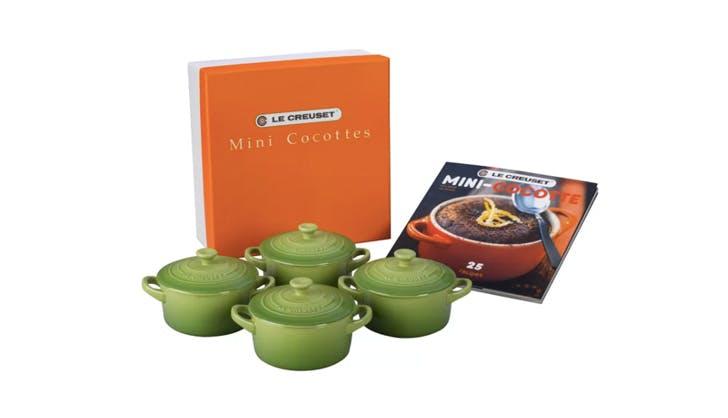 Le Creuset mini cocottes and cookbook