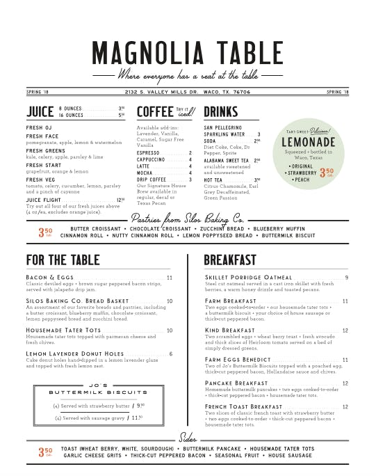 Magnolia Table Menu 1