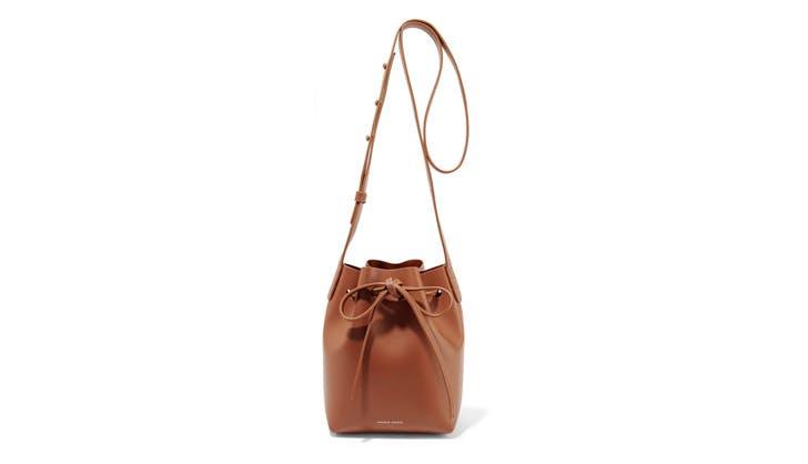Mansur Gavriel Tan Mini Leather Bucket Bag