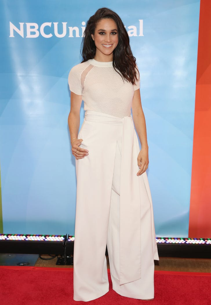 Meghan Markle NBC press day all white outfit