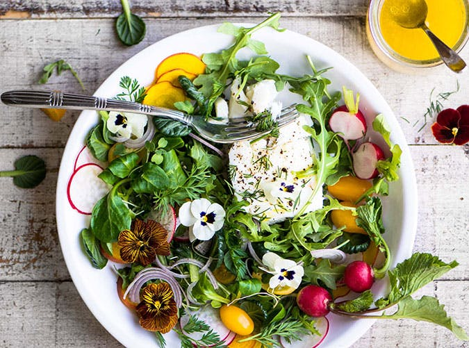 21 anti inflammatory meal ideas for a whole week purewow saturday dinner poached halibut salad with meyer lemon vinaigrette forumfinder Gallery