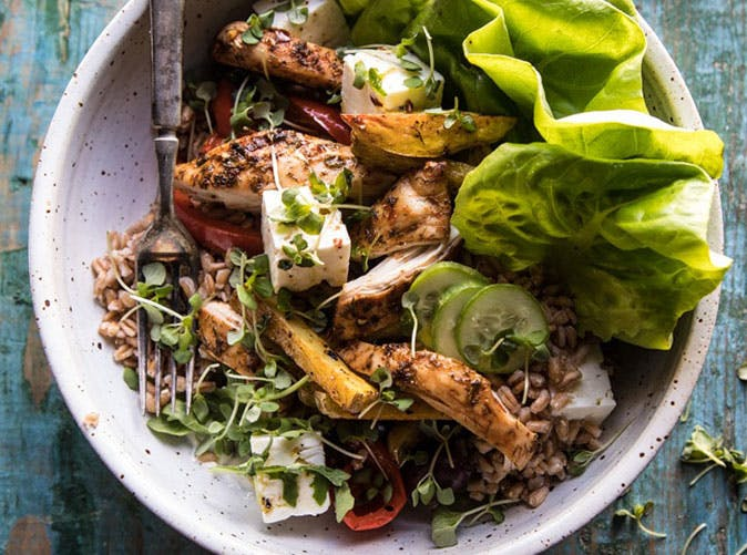 Roasted Greek Chicken and Farro Salad with Oven Fries recipe