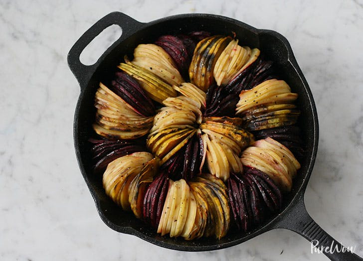 Roasted beets and potatoes in cast iron skillet
