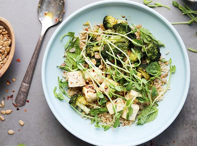 Roasted Chili Basil Lime Tofu Bowls recipe