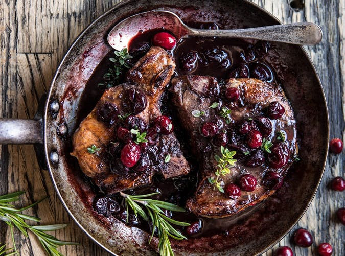 Roasted Cranberry Brown Sugar Pork Chops recipes for two people