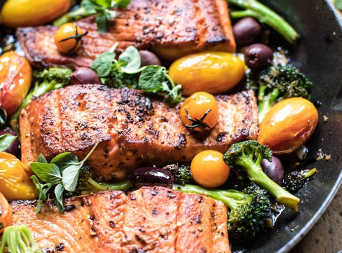 Sicilian Style Salmon with Garlic Broccoli and Tomatoes recipes for two people