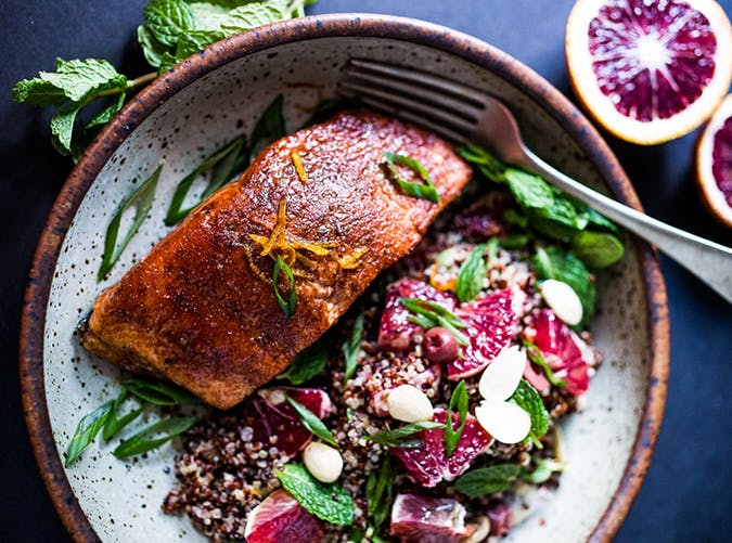 Simple Moroccan Salmon with Blood Oranges recipes for two people