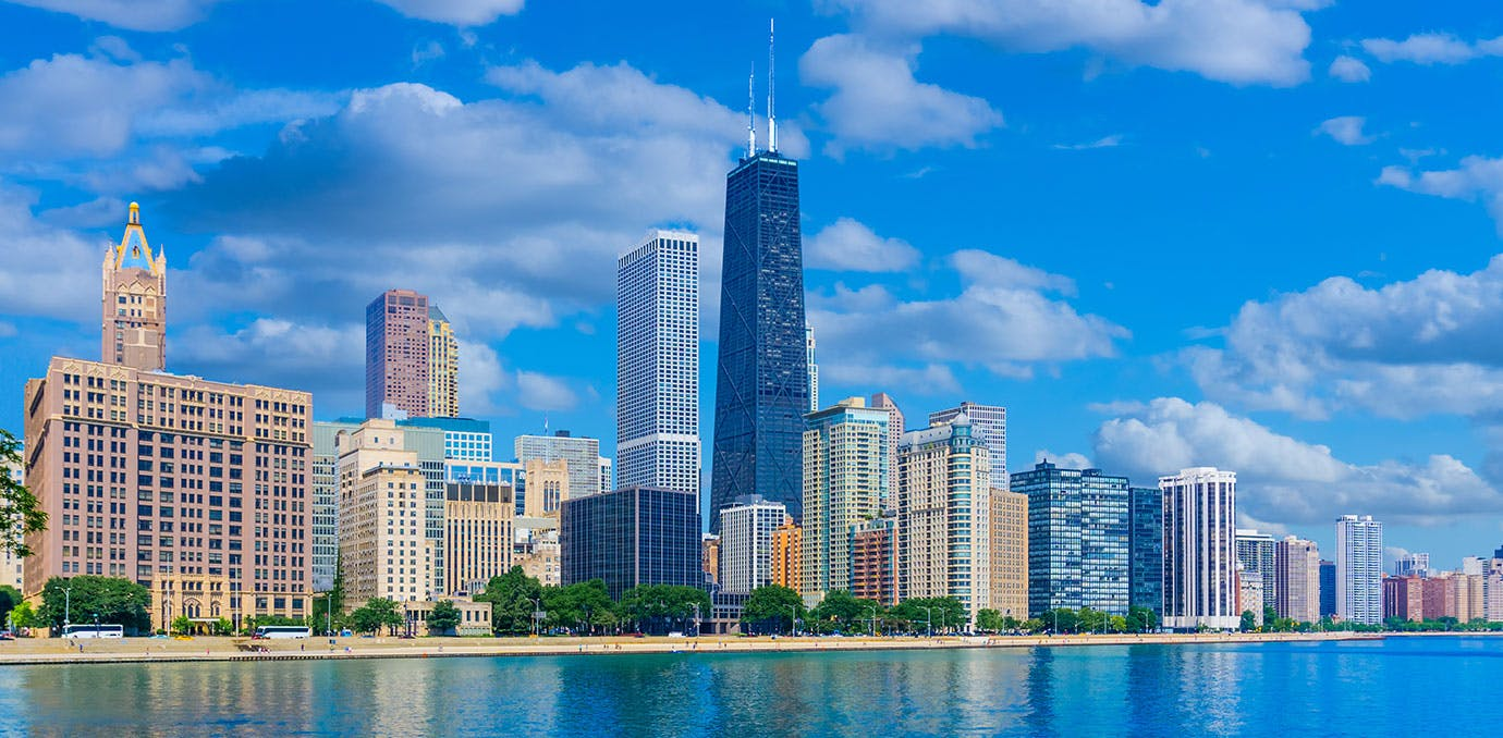 Skyscrapers of Chicago Illinois skyline from Lake Michigan