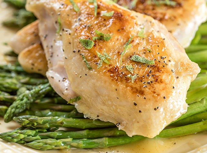 Sous Vide Chicken with Asparagus and Brown Butter recipe