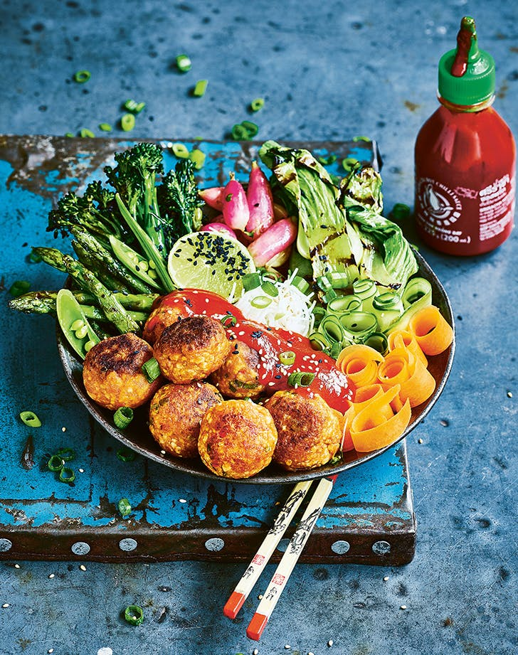 Vegan Sriracha Meatballs with Noodles and Grilled Vegetables recipe