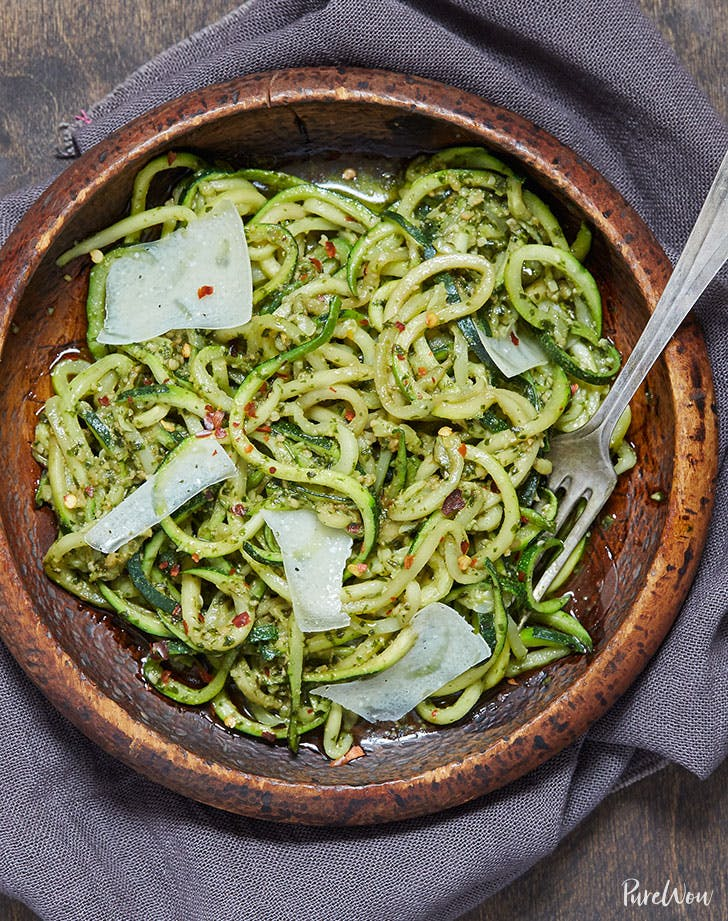 Zoodle pasta with homemade pesto sauce recipe