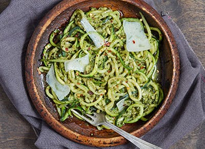 Zoodle pasta with pesto 400